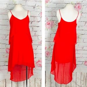 Soprano hi low red flounce summer dress